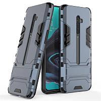 Чехол Hybrid case для Oppo Reno 2 бампер с подставкой темно-синий