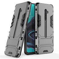 Чехол Hybrid case для Oppo Reno 2 бампер с подставкой темно-серый