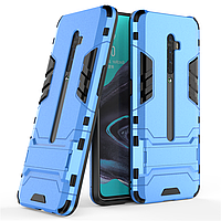 Чехол Hybrid case для Oppo Reno 2 бампер с подставкой голубой