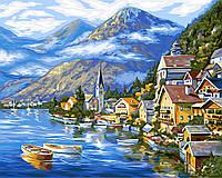 """Акриловая картина по номерам на холсте горы """"Австрийский пейзаж"""" 40х50, 5 уровень сложности"""