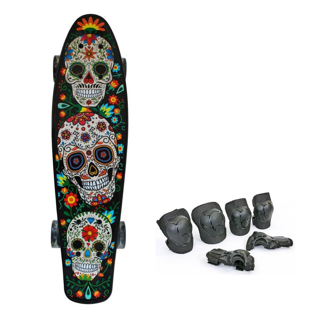 Пени Борд с светящимися колесами. Скейт скелет Penny Board + Подарок