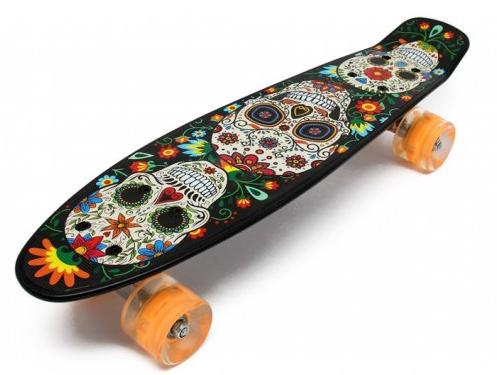 Пени Борд с светящимися колесами. Скейт скелет Penny Board + Подарок, фото 2