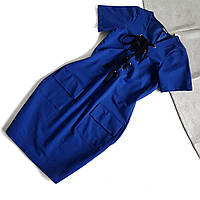 Платье синее со шнуровкой с коротким рукавом