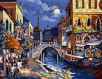 """Акриловая картина по номерам на холсте городской пейзаж """"Ночная Венеция"""" 40х50, 5 уровень сложности"""