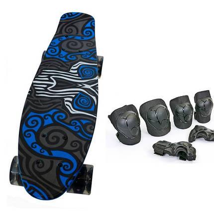 Пени Борд с светящимися колесами. Скейт синий Penny Board + Подарок, фото 2
