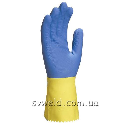 Рукавички VE330( подв.шар, синій-жовт.латекс),8