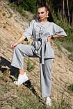 Костюм жіночий з брюками і футболкою вільного крою сірого кольору літо, фото 6