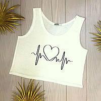 Літній топ жіночий з принтом кардіограма