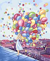 """Акриловая картина по номерам на холсте девушка с шариками """"Яркие краски города"""" 40х50, 3 уровень сложности"""