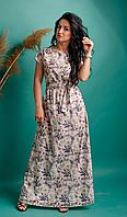 Красивое женское платье в пол под пояс