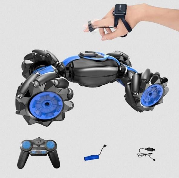 Трюковая машинка-багги перевертыш вездеход Синий (пульт+браслет на палец)
