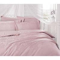 Двуспальный евро комплект постельного белья Deco Bianca, Pudra,жаккардовый сатин,4 наволочки, Турция, фото 1