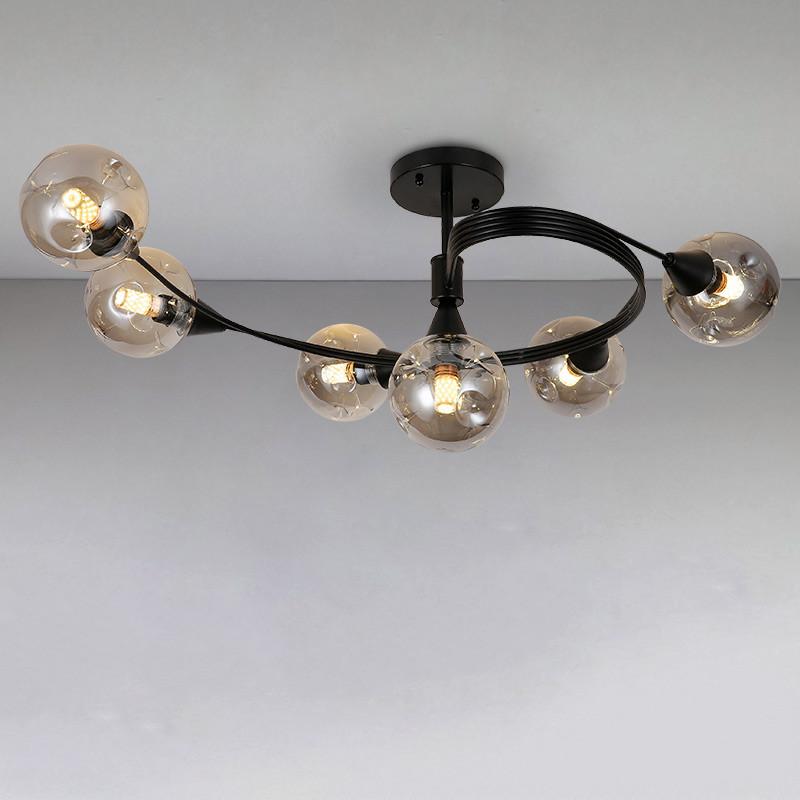 Люстра потолочная на шесть лампы LS-815037-6 BK+BK черная
