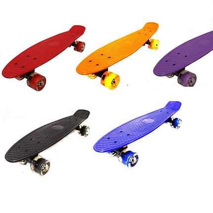 Пени Борд с светящимися колесами. Скейт Penny Board синий + Подаорок, фото 2