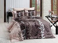 Двуспальный евро комплект постельного белья First Choice, Eylul Kahve, сатин, Турция, фото 1