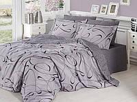 Двуспальный евро комплект постельного белья First Choice, Calisto Gri, сатин, Турция, фото 1