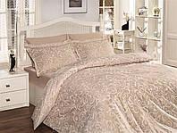 Двуспальный евро комплект постельного белья First Choice, Sveta Ekru, сатин жаккард, Турция