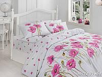 Двуспальный двусторонний евро комплект постельного белья First Choice Bozca Pembe, ранфорс, Турция, фото 1