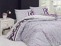 Двуспальный  евро комплект постельного белья First Choice Gina gri, ранфорс, Турция, фото 1