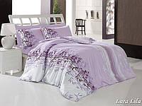 Двуспальный евро комплект постельного белья First Choice Lara lila, ранфорс, Турция, фото 1