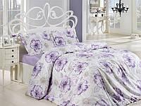 Двуспальный евро комплект постельного белья First Choice Natural Lila, ранфорс, Турция, фото 1