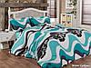 Двуспальный евро комплект постельного белья First Choice Wave Turkuaz, ранфорс, Турция