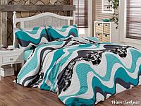 Двуспальный евро комплект постельного белья First Choice Wave Turkuaz, ранфорс, Турция, фото 1