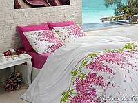 Двуспальный евро комплект постельного белья First Choice Wisteria Pembe, ранфорс, Турция, фото 1
