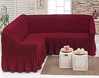 Универсальный чехол на угловой диван, бордовый, Турция