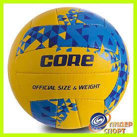 Мяч для волейбола Compositec Lether Core PU размер 5, 3 слоя сшит вручную желто-сине-голубой