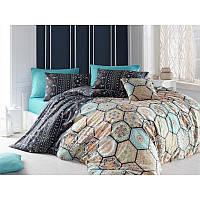 Евро комплект постельного белья Eponj Home - Sherry Lacivert,  ранфорс, Турция, фото 1