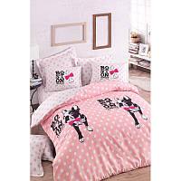 Евро комплект постельного белья Eponj Home - Boston Pembe,  ранфорс, Турция, фото 1