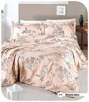 Двуспальный евро комплект постельного белья First Choice, Dolaris Ekru, сатин, Турция, фото 1
