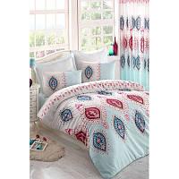 Евро комплект постельного белья Eponj Home - Zara A.Turkuaz,  ранфорс, Турция, фото 1