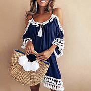 Пляжная туника -платье с кисточками