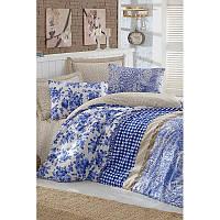 Евро комплект постельного белья Eponj Home -Arvales Mavi,  ранфорс, Турция, фото 1