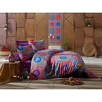 Евро комплект постельного белья Eponj Home -Ornament Mor,  ранфорс, Турция, фото 1
