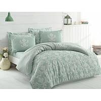 Евро комплект постельного белья Eponj Home -Pure Su Yesili,  ранфорс, Турция, фото 1