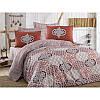Евро комплект постельного белья Eponj Home -Grand бордо,  ранфорс, Турция