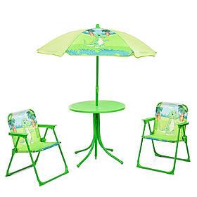 Детский садовый столик со стульчиками и зонтиком Bambi DINO