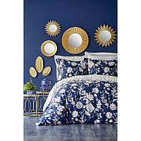 Евро комплект постельного белья Karaca Home, сатин - Elvira lacivert 2019-1 синий, Турция, фото 1