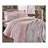 Двуспальный евро комплект постельного белья Tac Kelly pembe, сатин, Турция