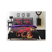 Двуспальный евро комплект постельного белья Tac Orions черный, сатин, Турция, фото 1