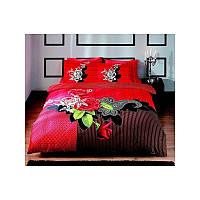 Двуспальный евро комплект постельного белья Tac Avalon красное, сатин, Турция, фото 1