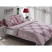 Двуспальный евро комплект постельного белья Tac Aida лиловое, сатин, Турция, фото 1
