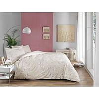 Двуспальный евро комплект постельного белья Tac Flora tas V01, сатин, Турция, фото 1