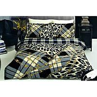 Двуспальный евро комплект постельного белья Tac Sava черное, сатин, Турция, фото 1