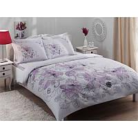 Семейный комплект постельного белья Tac Linus лиловое, сатин, Турция, фото 1