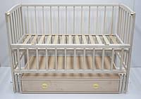 Кроватка Babymax Magia Бук, шухляда, маятник, откидная боковина, не лакированая, натуральная