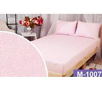 Двуспальная махровая простынь на резинке 220х240 см (на матрас 160-180х200см) + 2 наволочки,св. розовая,Турция, фото 1